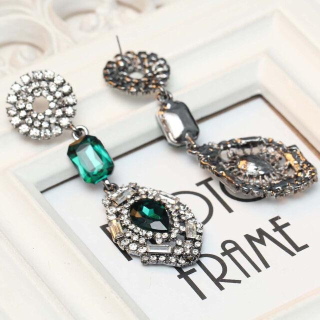 Rhinestone design women gorgeous bib statement  mixed crystal long Earrings e302