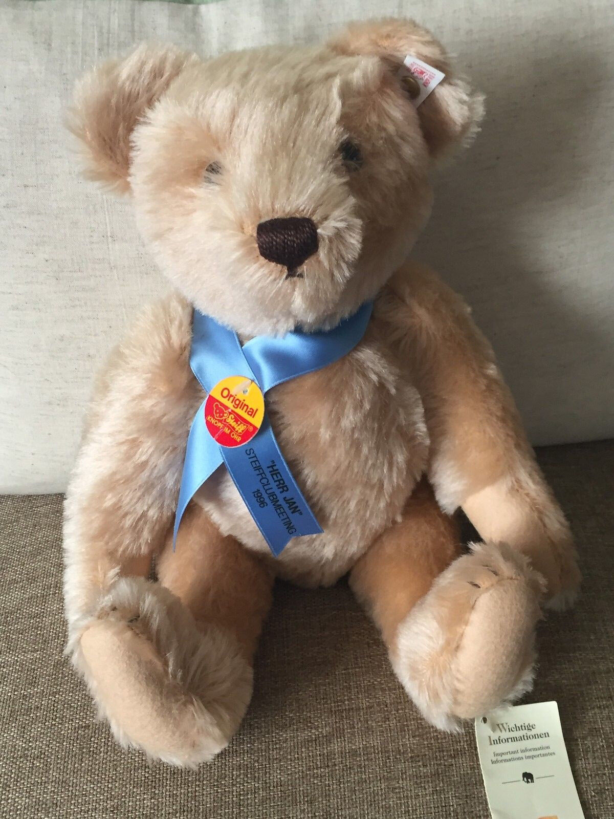 Steiff  655258 Herr Jan Teddy Bear Steiff Club Meeting Event Bear 1996 LE NWT