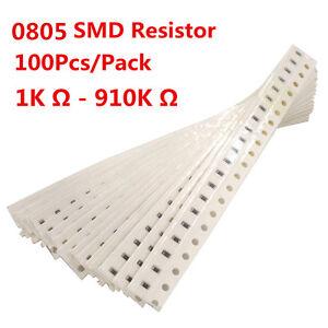 100Pcs-0805-SMD-Resistor-Resistors-1K-910K-Ohm-1-Free-Shipping