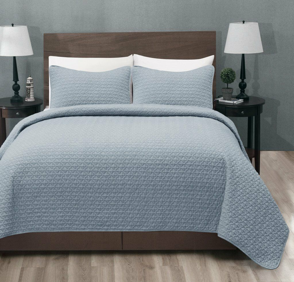 100% Polyester Micro 3PC Stone Blau Bed Quilted Coverlet Bedspread Set-2 Größes