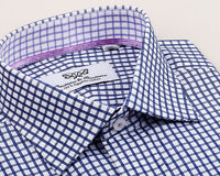 Navy Double Plaid Check French Double Cuff Shirt Egyptian Cotton Business Formal