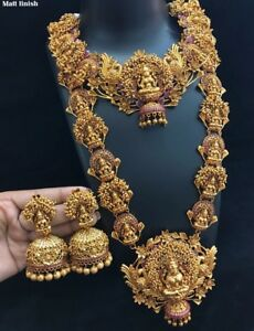 Image is loading Indian-22K-Gold-Plated-Necklace-Handmade-fine-jewelry- : gold plated jewelry sets - pezcame.com