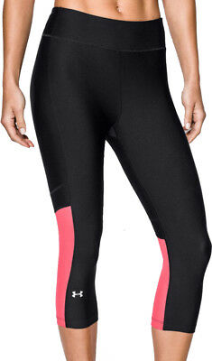 Qualificato Under Armour Heatgear Corsa Capri Collant Da Donna-nero-mostra Il Titolo Originale