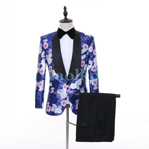 Mens Floral One Button Blazers Printed Suits Wedding Bridegroom Party Coat Pants