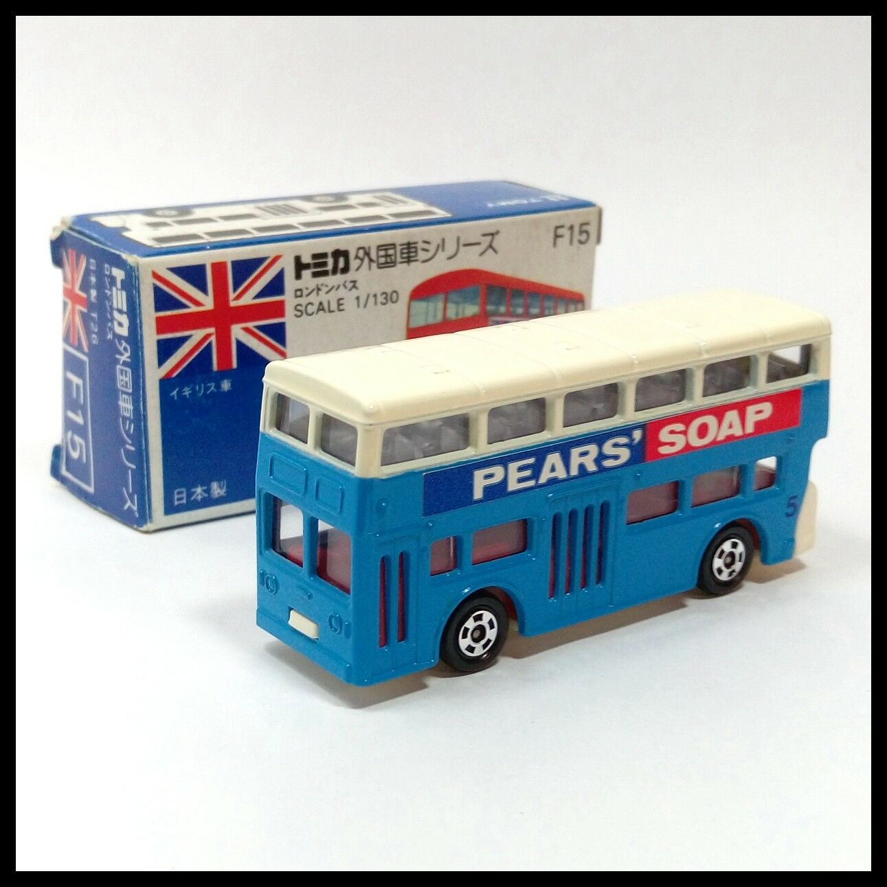TOMICA F15 T26 LONDON BUS PEARS' SOAP 1 130 MADE IN JAPAN TOMY NEW DIECAST CAR