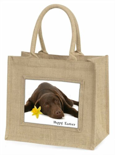 'Happy Easter' Chocolate Labrador Large Natural Jute Shopping Bag , ADL54DA1BLN
