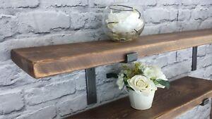 Shelf Rustic Chunky Industrial Handmade Shelves Metal Brackets/Solid Wood-