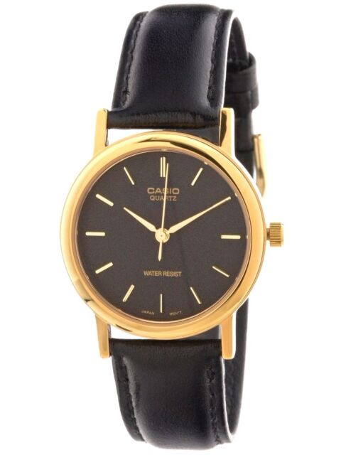 5535a7d5853c Casio Mtp1095 Mens Black and Gold Watch Analog Leather Band Quartz ...