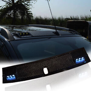 Para-Ford-Ranger-T6-MK1-MK2-PX2-2012-2017-negro-brillante-delantero-Spoiler-de-techo-con-LED
