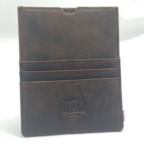Herschel Supply Co Eugene RFID Passport Holder Card Wallet Leather Nubuck Brown