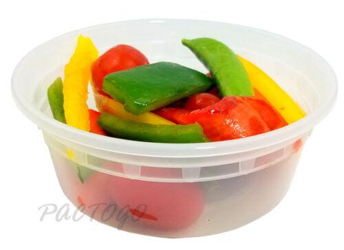 8 oz Microwaveable Plastic Freezer Food Storage Deli Soup Container Tubs w//Lids