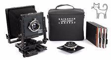 K.B. Canham DLC 4X5 metal field camera with 135mm + 210mm lenses + holders EX++