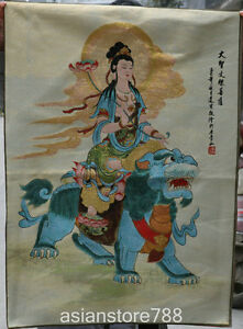 36-034-Tibet-Cloth-Silk-Satin-Wenshu-Manjushri-Goddess-On-Lion-Beast-Thangka-Mural