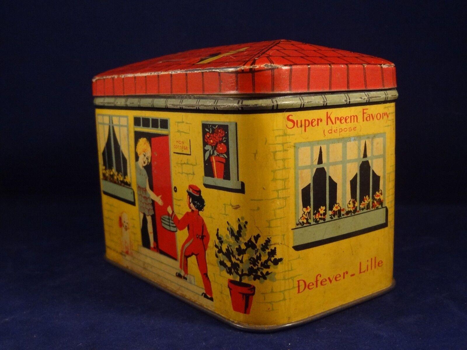 Ancienne boîte tôle maison tirelire livreur Super Kreem - Favory Defever - Kreem Lille 30f79c