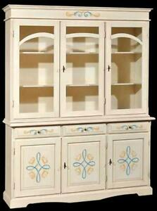 Credenza cristalliera arte povera cucina in legno dipinta for Credenza arte povera