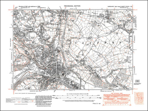 231SE repro old map Yorkshire 1938 Brighouse Clifton