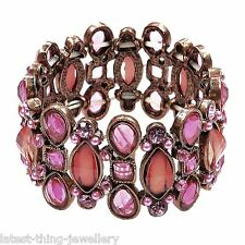 Pink Coral Crystal Bracelet Pearl Faceted Stone Stretch Cuff Design