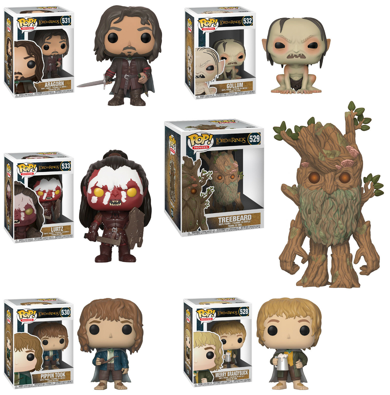 Funko POP  Movies  LORD OF THE RINGS 6-FIGURE SET (WAVE 2)  Aragorn, Treebeard