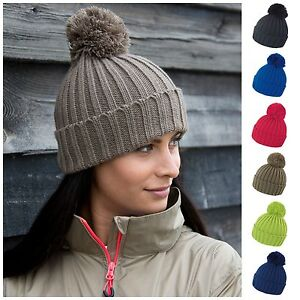 Image is loading Cable-Knit-Beanie-Chunky-Winter-Warm-Woolly-Bobble- da8780f56c3b