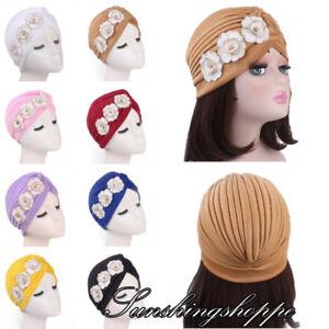 New Women s Flower Headwear Chemo Cap India Beanies Hat Turban ... 912637d28ef
