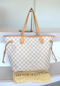 Image is loading AUTHENTIC-LOUIS-VUITTON-NEVERFULL-MM-Damier-Azur-Canvas- 74f169a733278