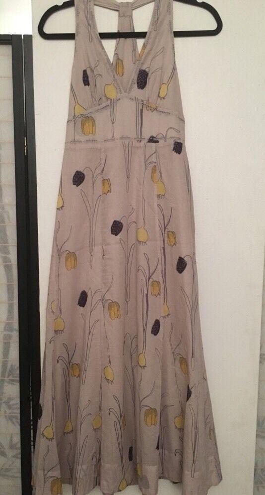 HD In Paris Beige 100% Cotton Halter Dress Floral Print Print Print  Marked US SZ 2 547314