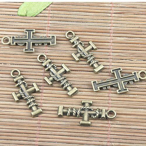 20pcs antiqued bronze color cross shaped design pendant G1931