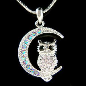 b5118f6106fc Purple Owl Moon~ made with Swarovski Crystal Hoot Bird Halloween ...