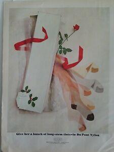 1962-Dupont-Nylon-Mujer-las-Medias-Medias-Largo-Tallo-Rojo-Rosas-Anuncio