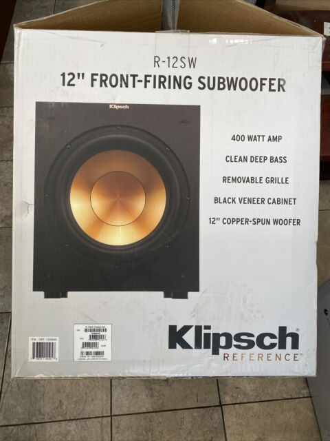 """Klipsch R-12SW 12"""" Front-Firing Reference Powered Subwoofer 400 Watts Max -Black"""