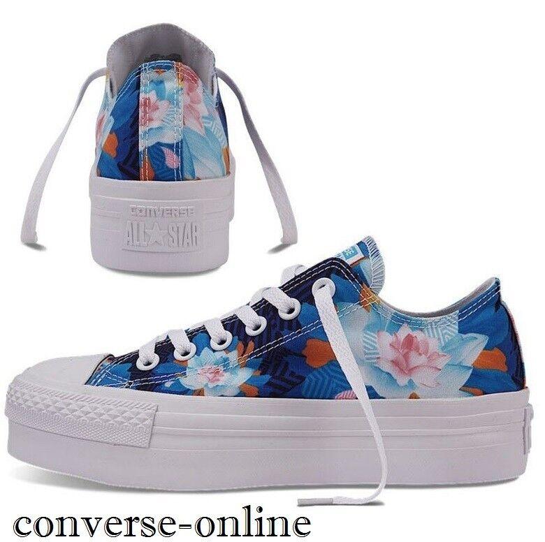Para Mujeres Niñas Converse Azul All Star Ox Flores Azul Converse Zapatillas Zapatos de plataforma size e41ce1