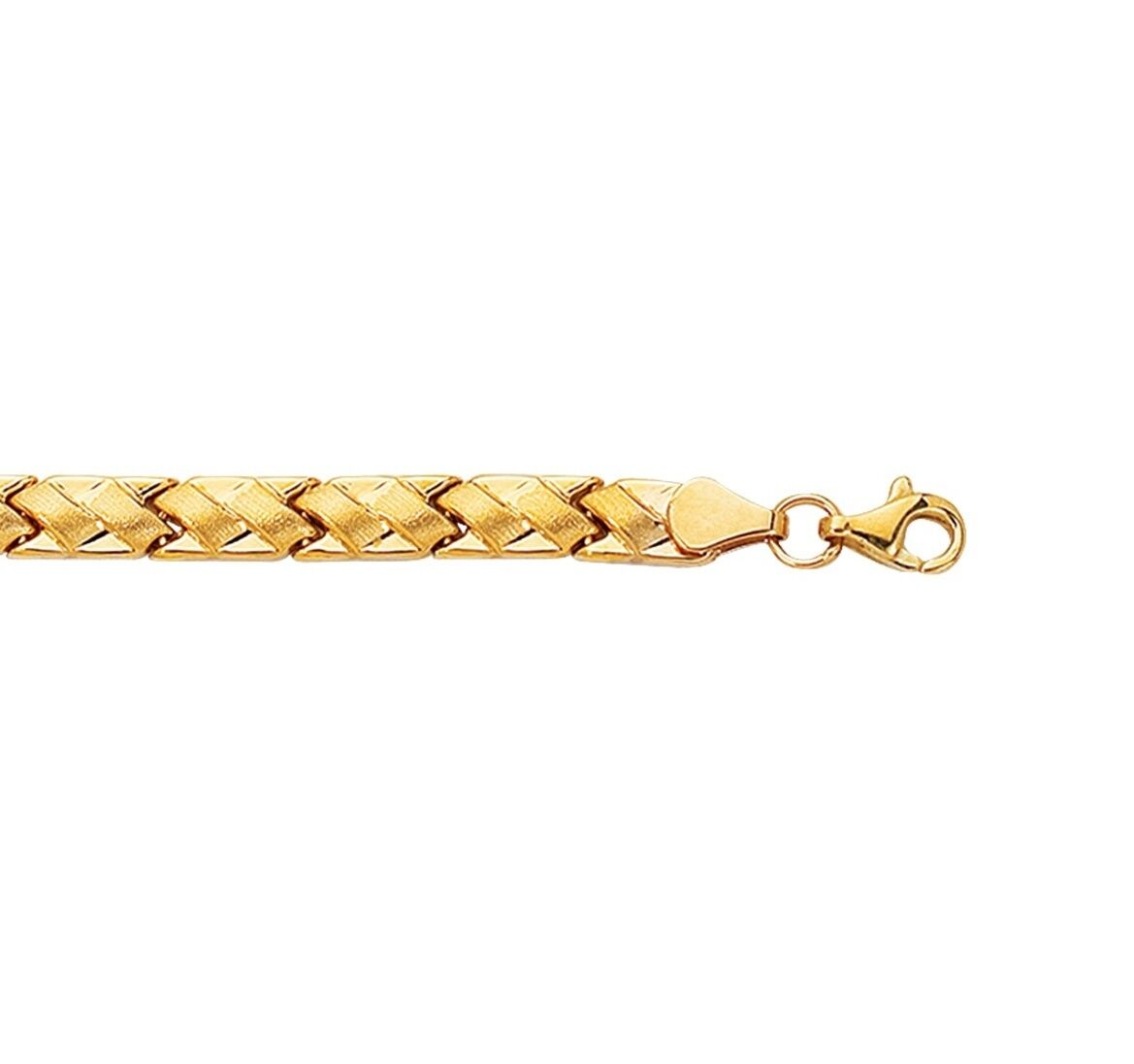 14K Yellow gold Shiny Textured Zig Zag Weaved Pattern Fancy Bracelet