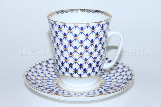 RUSSIAN Imperial Lomonosov Porcelain bone Tea cup and saucer Cobalt Net 22k Gold