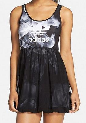Adidas by Rita Ora White Smoke Logo Tank Chiffon Dress S23566 nwt UK 8 (34)