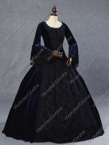 Victorian Costume Dresses & Skirts for Sale    Victorian Gothic Velvet Queen Dress Ball Gown Steampunk Costume NAVY 153 $185.00 AT vintagedancer.com