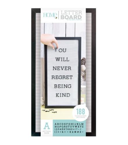 "American Crafts DCWV 10/"" x 20/"" Letter Board Kit White Background Black Frame"