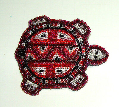 """Beaded Turtle Barrette 3.5"""" W x 3"""" L  Leather Backed French Clip Regalia #07"""