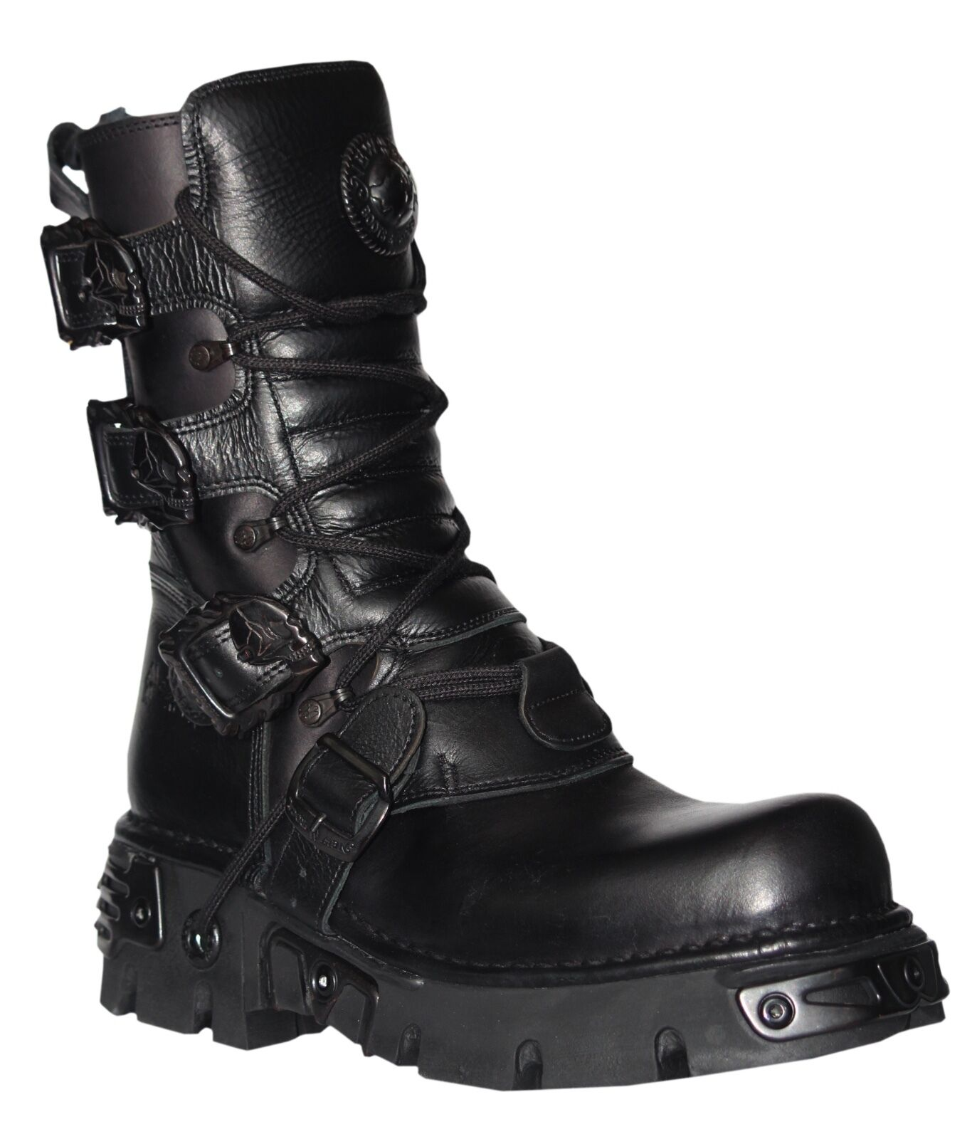 New Rock Unisex Black Metallic Reactor Punk Goth Biker Unisex Boots with Laces