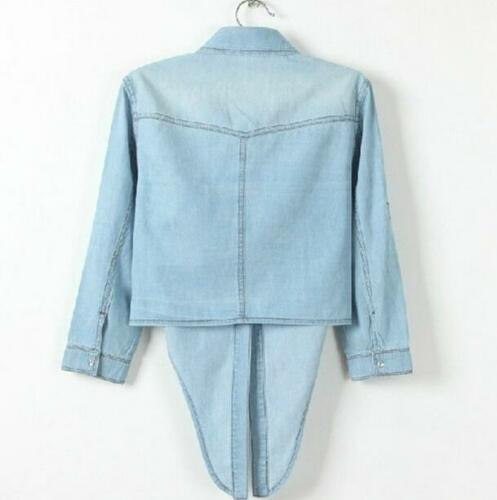 Womens Spring Coat Slim Fit Denim Blouse Short Jacket Short Sleeve Casual Shirts
