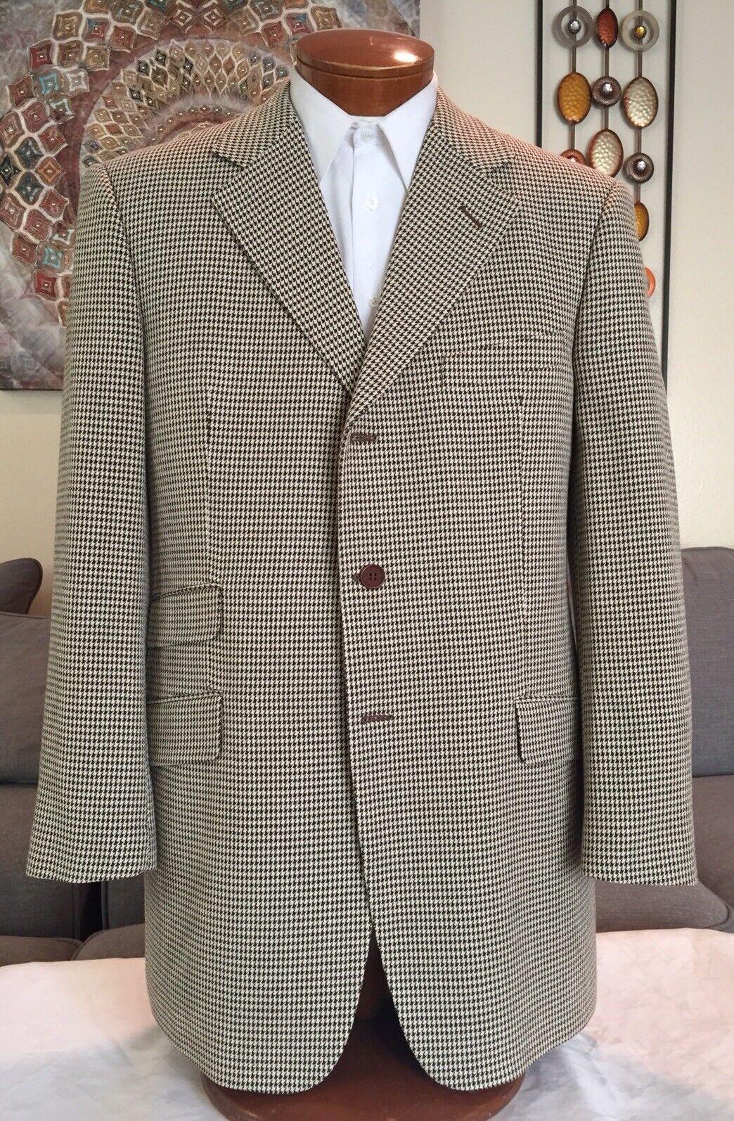 NEW Giorgio Armani Silk Blend Brown White Herringbone 2 Vent Blazer Sz 42 L