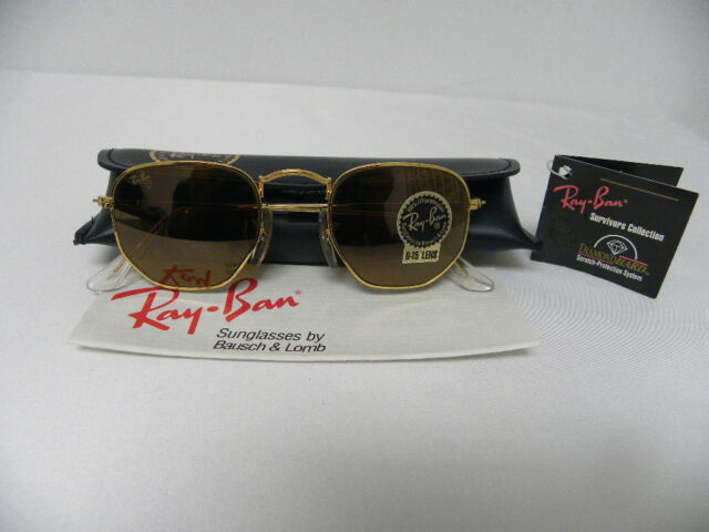 ca19dc419a Vintage B l Ray-Ban W1910 Diamond Hard Prism Aviator GP Wire Sunglasses EXC
