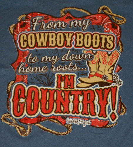 Girl/'s Girlie Girl Boots To Roots I/'m Country Sleeve Blue T-Shirt Top Size Large