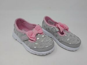 27b3a3902507c New!! Girl's Toddler Skechers GOwalk-Bitty Hearts Gray w/pink bows ...