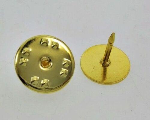 200 GOLD Brass TIE TACKS Tacs Pins backs 10mm pad x 8mm post No Nickel