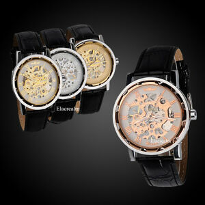 Classic-Mens-Dial-Skeleton-Black-Leather-Band-Mechanical-Sport-Army-Wrist-Watch