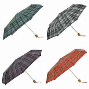 3-Fold-Small-Compact-Folding-Telescopic-Rain-Umbrella-Tartan-Checked-Pattern