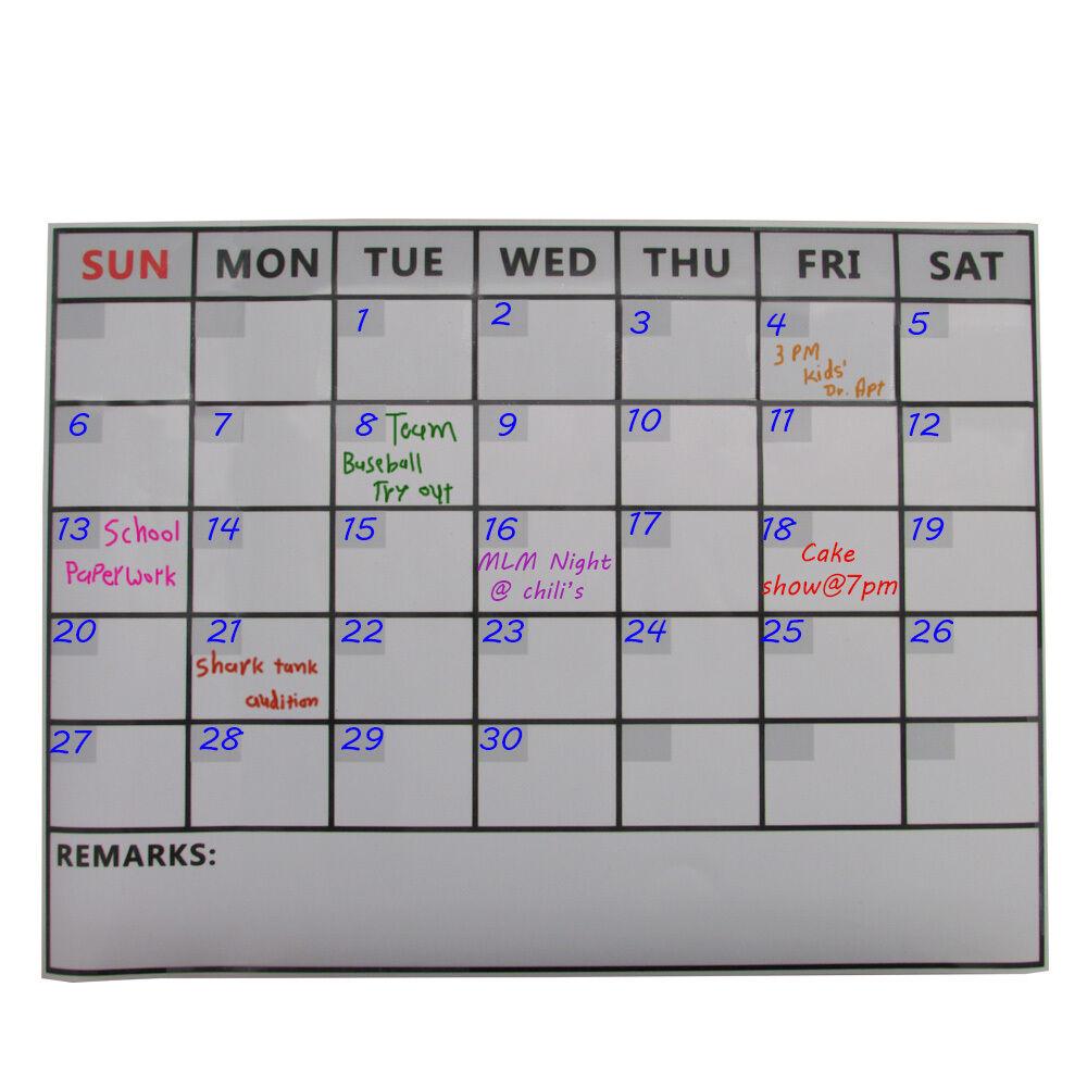MS095- Magnetic Refrigerator Dry Erase Calendar Monthly Planner Message Board