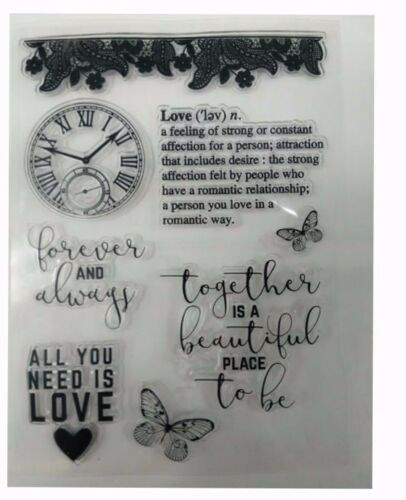 CLOCK LOVE BUTTERFLY Silicon Transparent Stamp Seal  Cards steampunk