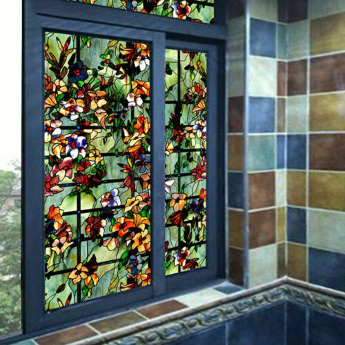 3D Static Clings Window Films Frosted Stained Camellia Glass Sticker Home Adorn