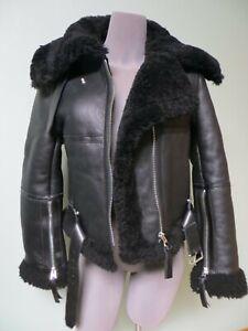 $2600 Acne Studios Leather Jacket 36 Shearling Fur FN-WN-LEAT000028 Aviator Moto